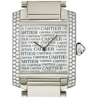 Cartier White Gold Boutique Dial Tank Francaise Quartz Wristwatch