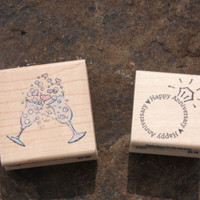 Ring & Champagne Glasses Anniversery Lot of 2 Rubber Stamps Craft Scrapbooking