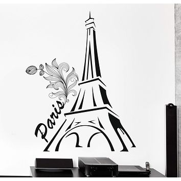 Wall Vinyl Decal France Paris Eiffel Tower Romantic Decor Unique Gift z3825