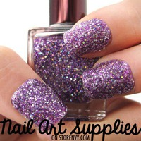Purple Disco - Bright Purple and Silver Glitter Nail Polish 16ml from nailartsupplies