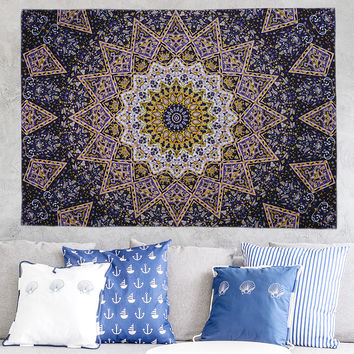 Gold totem elephant Mandala tablecloth Wall Hanging Moroccan Indian Printed Decorative Wall Elephant Tapestries 200x148cm