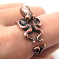 Octopus Squid Sea Animal Wrap Around Hug Ring in Copper | US Size 4 to 9