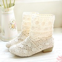 Handmade Womens Hollow Knitted Flattie Ankle Boots
