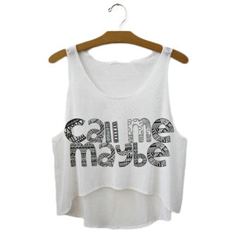 Women's Call Me Maybe Printed Cute Sexy Girl Cropped Sports Summer Harajuku Style Camisole Youth White Tank Top Crop Top