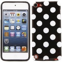 iTALKonline ProGel BLACK WHITE POLKA DOT Super Hydro Gel TPU Protective Armour/Case/Skin/Cover/Shell for Apple iPod Touch 5 5G (5th Generation) 8GB, 32GB, 64GB - Solid Black