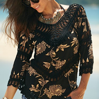 Retro Floral Print Crochet Beach Blouse 11699