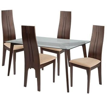 Baldwin 5 Piece Espresso Wood Dining Table Set with Glass Top and Padded Wood Dining Chairs