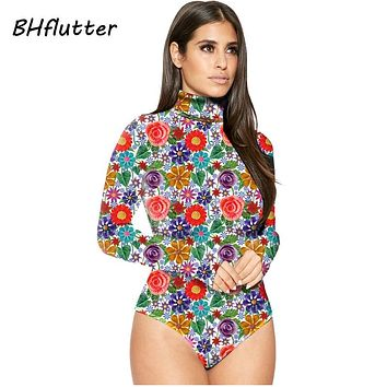 BHflutter Floral Print Long Sleeve Jumpsuits Winter Turtleneck Bodysuits Women Skinny Sexy Overalls Rompers 6 Colors
