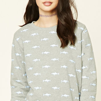 Fleece Shark Print Sweatshirt