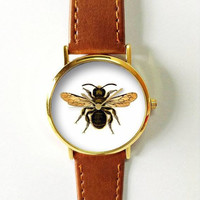 Vintage Bee Watch , Women Watches,  Leather Watch, Men's Watch,  Boyfriend Watch, Ladies Watch, Silver Gold Rose Watch, Unique, Gift