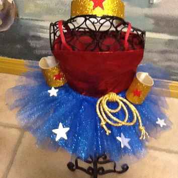 Adult Wonder Woman tutu costume with blouse and cape