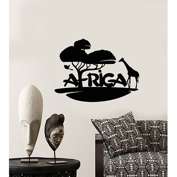 Vinyl Wall Decal Africa Landscape Logo Animals Nature Stickers (3491ig)