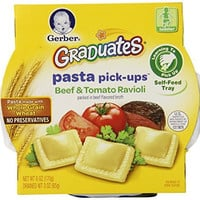 Gerber Graduates Pasta Pick-Ups Ravioli, Beef and Tomato, 6 Ounce Trays, 8 Count