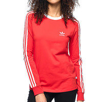adidas 3 Stripe Red Long Sleeve T-Shirt