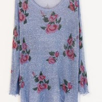 Purple Rose Flowers Print Ripped Distressed Long Sleeve Jump