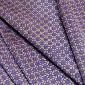 Vintage Silk Jacquard Necktie Fabric Yardage - Italian Silk Purple Orange Gray