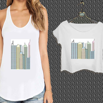 new york city skyscrapers For Woman Tank Top , Man Tank Top / Crop Shirt, Sexy Shirt,Cropped Shirt,Crop Tshirt Women,Crop Shirt Women S, M, L, XL, 2XL*NP*