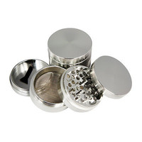 Metal Herb Grinder 2.5INCH 4 Piece Color Cold with Pollen Catcher& free Scraper