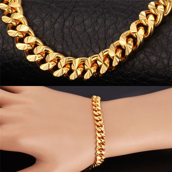 U7 Bracelet For Men Yellow Gold Plated 21cm Rose Gold/Black Gun/Platinum Plated Cuban Link Chain Bracelet Men Jewelry H556
