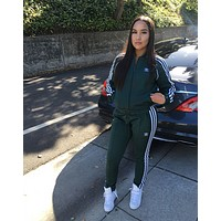 Adidas Fashion Letter Long Sleeve Shirt Sweater Pants Sweatpants Set Two-Piece Sportswear green