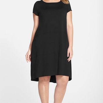 Plus Size Women's Eileen Fisher Jersey Bateau Neck Elliptical Hem Shift Dress,