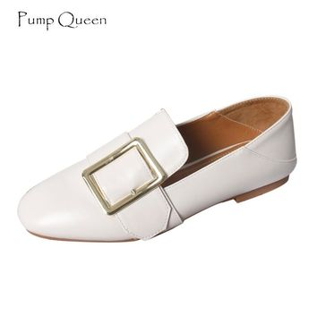 PumpQueen Casual Loafers Flats Shoes Women 2018 Sping Autumn Slip on Female Shoes Square Toe Moccasins Solid zapatos mujer 40