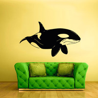 rvz1708 Wall Decal Sticker Sea Ocean Orca Dolphin Fish Whale Animals Decal