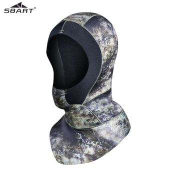 Sbart 3MM Neoprene Diving Hood Adult Camo Winter Snorkel Wetsuit Warm Cap Hat Head Cover Bibbed long to Shoulder Scuba Hoodies