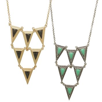 Long Triangle Necklace - 2 Colors