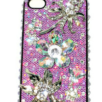 Flower Bling iphone Case, 3D iphone 4 Cover, Pearl iphone Cases, Bridesmaid Gift, Wedding Accessories, Maid of Honor Gift