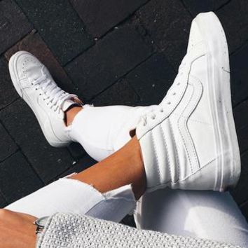 """Vans"" Classic Trending Women Men Casual High Help Flat Sport Shoe Sneakers Full White I"