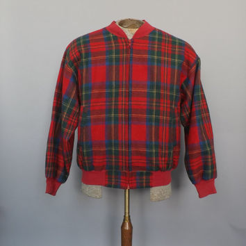 Vintage DEADSTOCK Retro 80s Red Plaid Wool Jacket Adolfo Size Small Mens Blazer Bomber Jacket Punk Hipster Grunge Punk Rocker Mens Coat