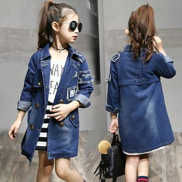 2018 Girls denim Jackets Fashion Double-Breasted Denim Coats New Kids Trench Coat For Girl Long Jackets Autumn Children Clothing