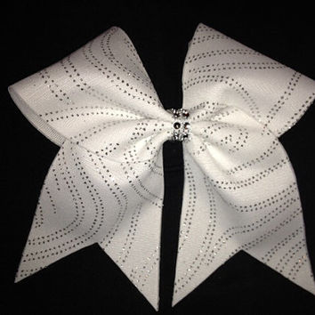 White and silver glitter cheer bow with rhinestone mesh middle