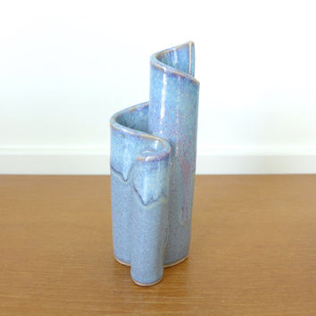 Bay Pottery blue glazed pottery vase or pencil holder, 7 inches tall