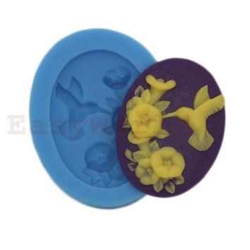 Bird Pecking Flowers Cabochon Silicone Mold For Resin Jewelry 39x29mm Cameo