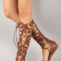 Delicious Melo-S Leatherette Cut Out Lace Up Gladiator Flat Sandal