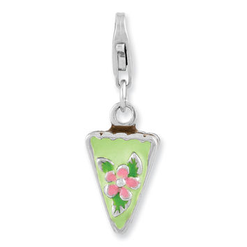 Sterling Silver Rhodium Plated Enameled Green Mint Cake w/Lobster Clasp Cha QCC972