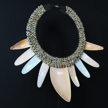 Traditional Papua Shell Necklace. Large Bailer Shell Pendants On Nassa Shells Fiber Collar.Ethnic Neck Adornment.New Guinea Shell Collection