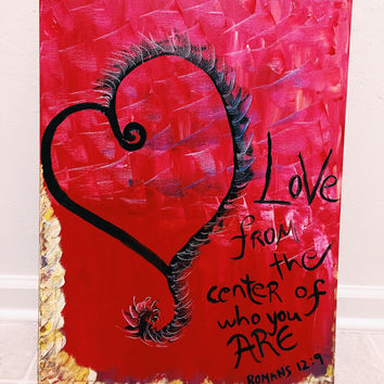 Valentine's Day Gift-Heart Painting-Bible Verses-Romans 12:9-Wall Canvas-Love Painting-Valetines Painting-Valentines Wall Decor-Acrylic