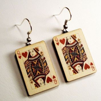 Queen of Hearts silver fish hook earrings in FREE gift box