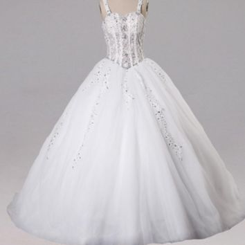 Vintage Wedding Dress Ball Gown Applique Crystals Sweep Train Wedding Gowns Back Zipper Up