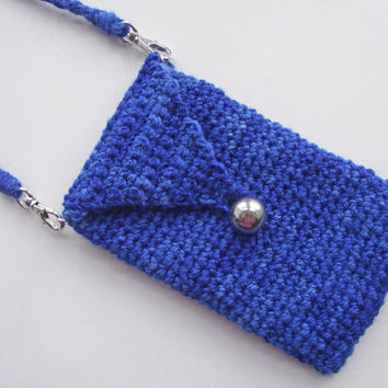 iPhone Pouch with DETACHABLE Neck Strap, Blue iPhone Sleeve, Crochet Cell Phone Case, Handspun Crochet Sleeve,  Merino Neck Strap Lanyard