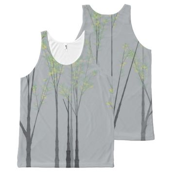 Soft Grey Wispy Trees with Green and Yellow Leaves All-Over Print Tank Top