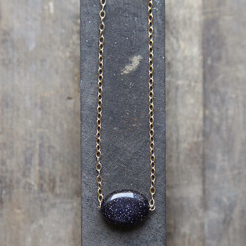 Blue Goldstone Necklace, Midnight Goldstone Pendant, Blue and Gold Necklace, Night Sky Necklace, Galaxy Necklace,