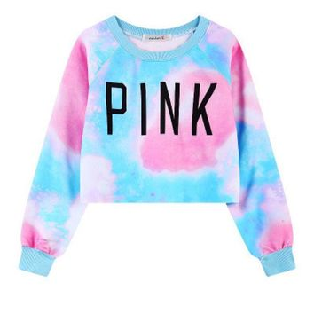 """ Pink "" Printed Women's Trending Popular Fashion Victorias Secret Like 2016 Crop Top Bare Midriff Blouse Sweatshirt Shirt Top"