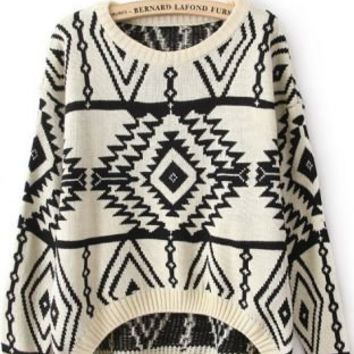 Free Shipping Beige Long Sleeve Geometric Pullovers Sweater
