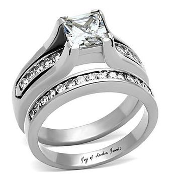 A Perfect 1.7CT Princess Cut Russian Lab Diamond Channel Set Wedding Bridal Set Ring