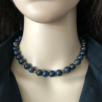 Blue Sodalite Beaded Collar Necklace