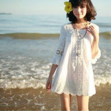 White Lace crochet Boho Bohemian womens, junior, teen dress 70's vintage S/M